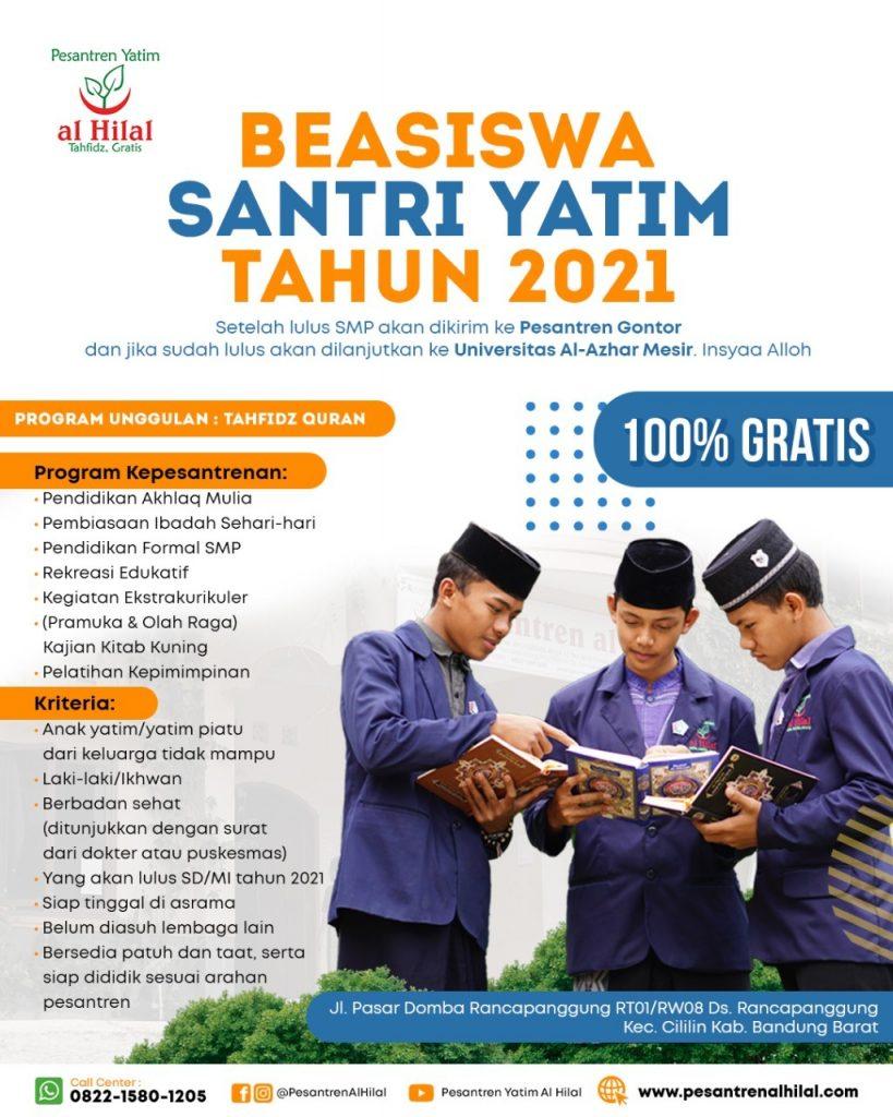 Pesantren Yatim Al Hilal Tahfidz. Gratis BEASISWA SANTRI YATIM TAHUN 2021 1